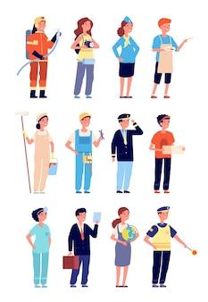 プロの制服を着た子供たち。子供の職業と仕事、男の子と女の子の職業。教師ビルダーベクトルセットを再生する孤立した漫画の子供たち。職業警官、ジョブパイロット、プロのイラスト