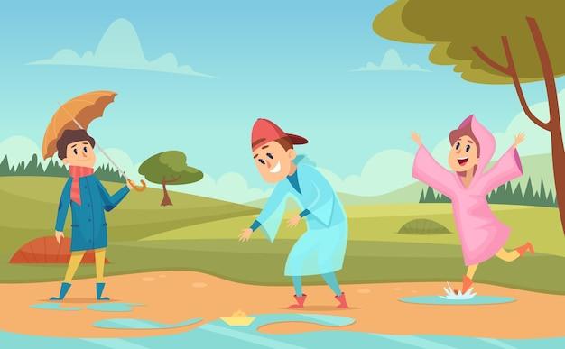 웅덩이에있는 아이들. 비옷과 우산 비가 환경 만화 벡터 일러스트 레이 션에 행복 한 사람들과 계절 배경. 웅덩이 물과 비옷에 만화 아이