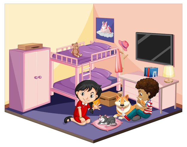 핑크 테마 장면에서 침실에있는 아이들