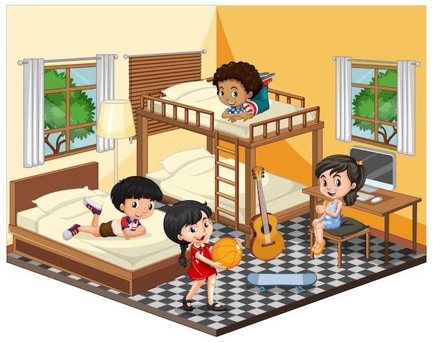 흰색에 노란색 테마 장면에서 침실에있는 아이들