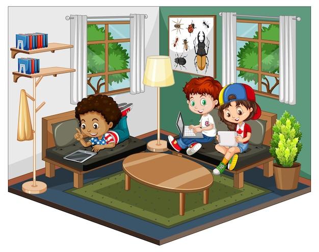흰색 바탕에 녹색 테마 장면에서 거실에있는 아이