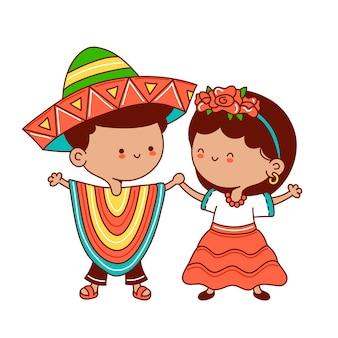 Дети в традиционных мексиканских костюмах. вектор плоская линия мультяшныйа каваи символ иллюстрации значок. изолированный. мексиканский мальчик и девочка концепция
