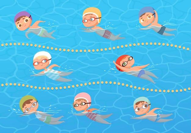 Дети в бассейне с водой. детское спортивное образование, урок плавания мультяшный клипарт.