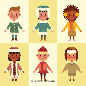 Kids in winter clothes collection