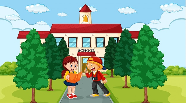 Kids infront of school scene
