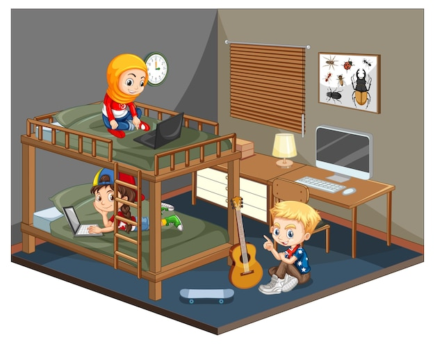 Kids is the bedroom scene on white background