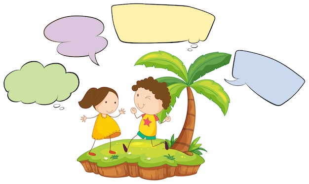 Kids on island with speech bubbles