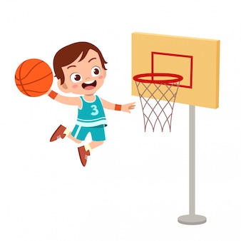 Kids jump basketball