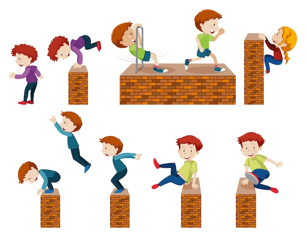 Kids jumping and climbing
