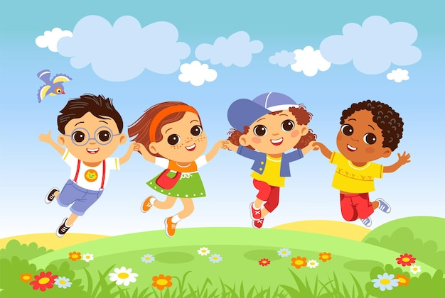 Kids jumping grass. happy children having fun on nature, joyful boys and girls outdoor activity, little friends playing funny cheerful team vector concept