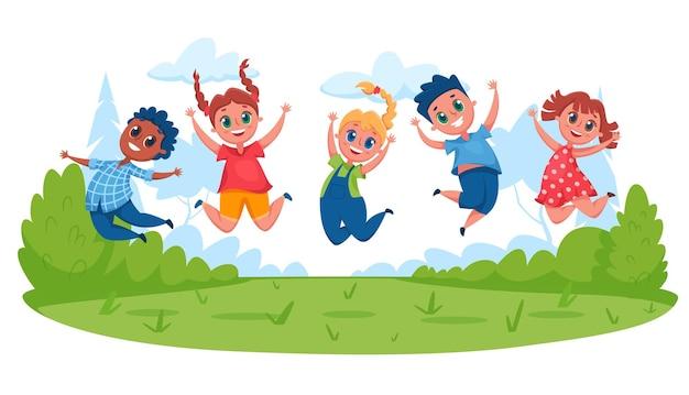 Дети прыгают на луговой иллюстрации