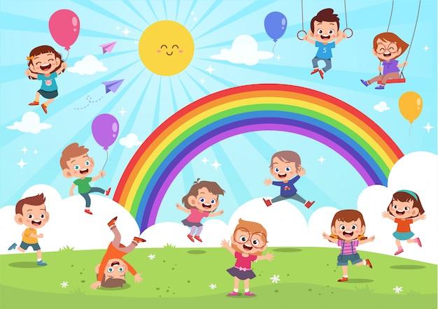カラフルな漫画の虹の下でジャンプ子供