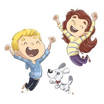 幸せな犬とジャンプする子供たち