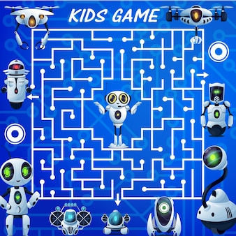 Kids labyrinth maze game, cartoon robots vector boardgame. find correct way test with ai bots, cyborgs, drones and androids. worksheet riddle with square field, tangled path and cute droid in center