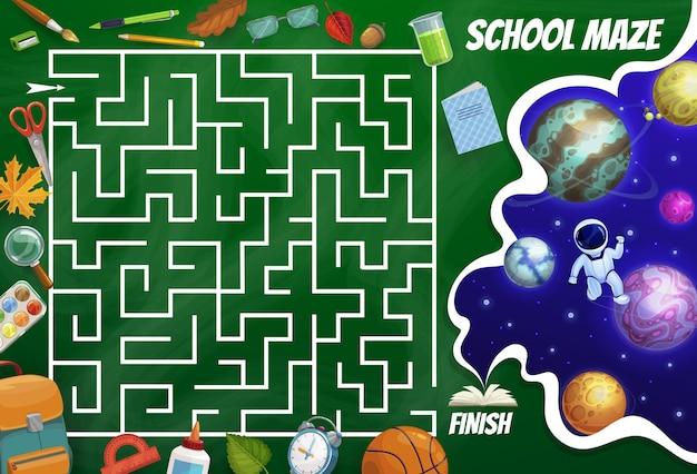 Kids labyrinth maze game, space planets, astronaut