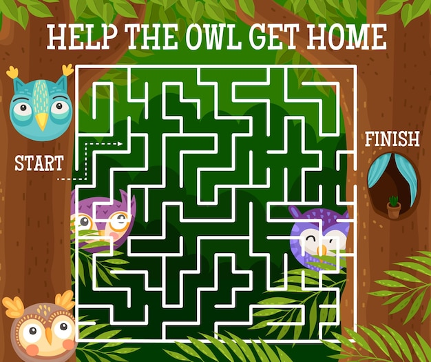 Kids labyrinth maze riddle with cartoon owls and funny owlets. square maze game or puzzle, help owl get home logic riddle with background frame of owl birds, forest trees and cavity nest