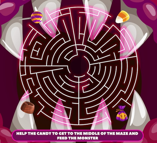 Kids labyrinth with halloween candy, monster maw