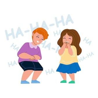 재미있는 농담 벡터에서 함께 웃는 아이들. 작은 행복 한 아이 소년과 소녀 커플 웃 고, 긍정적인 감정. 캐릭터 초반 이었죠 형제와 자매 여가 시간 평면 만화 일러스트 레이 션