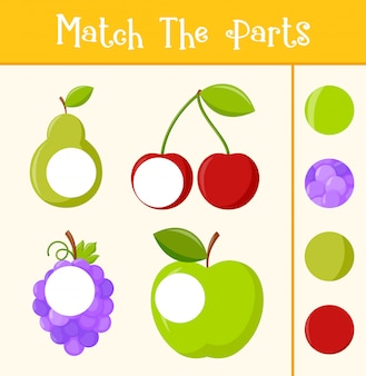 Kids learning game, match the parts