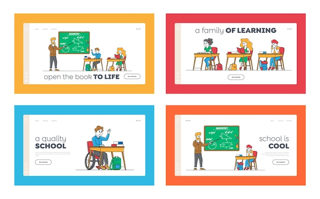 Kids on lesson landing page template set