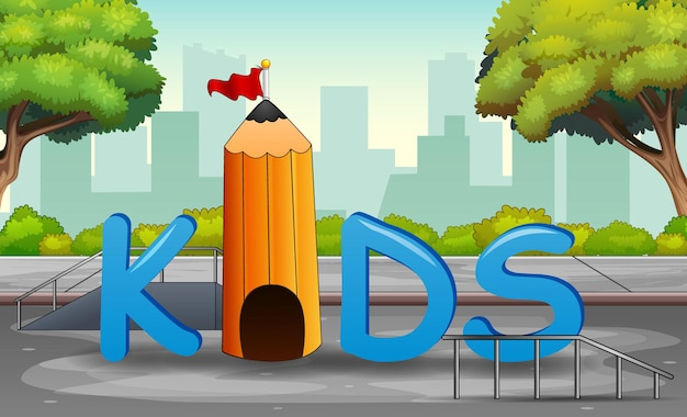 The kids lettering in the city park background