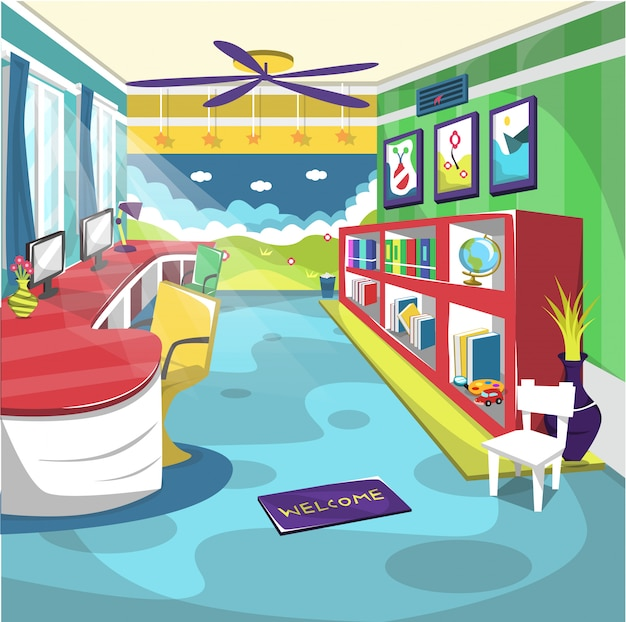 천장 선풍기와 벽화가있는 어린이 도서관 학교 실