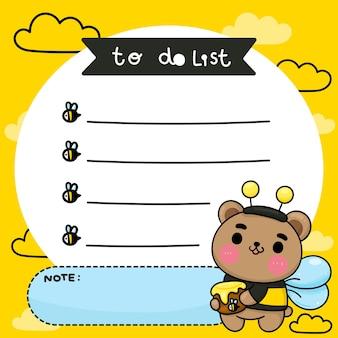Kids to do list cartoon bear honey wear fancy bee costume cute animal kawaii character