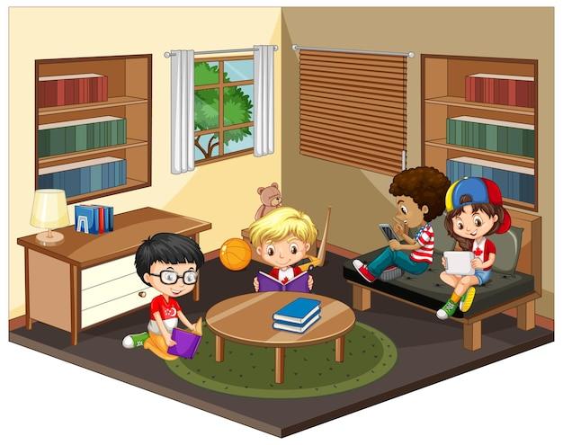 Bambini nella scena del soggiorno su bianco