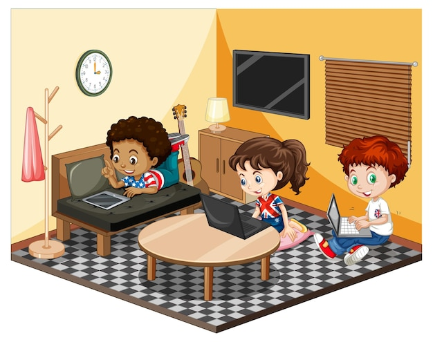 Kids in the living room in yellow theme scene