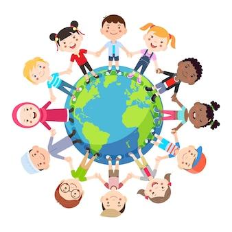 Kids love globe conceptual