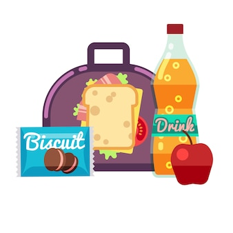 Kids lunch box, bag with snacks, meal and beverages stock. lunchbox sandwich, drink with apple