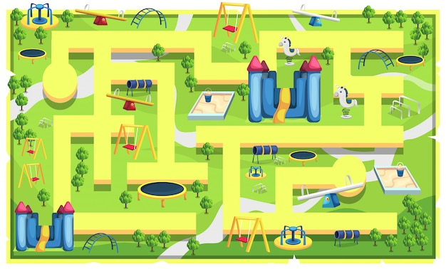 Kids maps playground with path and see saw, sand pool toys, carousel, swing and trampoline for 2d game platformer   illustration
