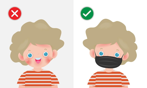 Kids mark protective no entry without face mask or wear a mask icon