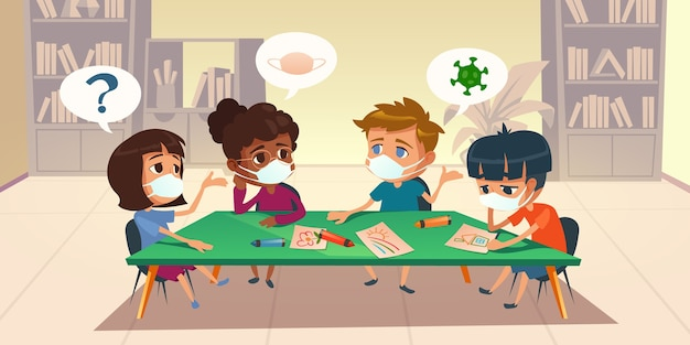 Kids in masks at school or kindergarten during coronavirus epidemic. multiracial children sitting around of table painting and chatting in library room with bookcases, cartoon illustration