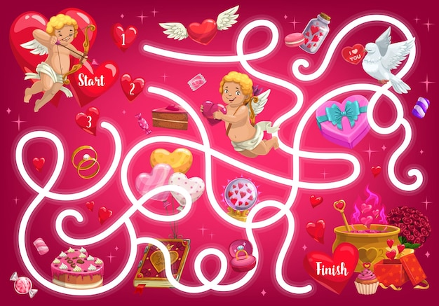 Kids maze game, valentines day labyrinth with cupids and festive items