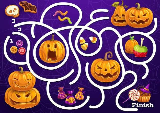 Kids maze game with halloween sweets, pumpkins and spider web. vector labyrinth puzzle find correct way board game. task with tangled path and candies. children education riddle, preschool activity