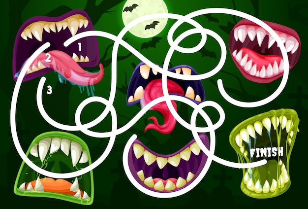 Kids maze game with monster mouths. vector labyrinth puzzle find correct way board game. task with tangled path and toothy maws. educational children riddle, family or preschool activity, recreation