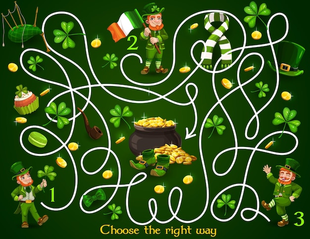 Kids maze game with st patricks day leprechauns and festive items