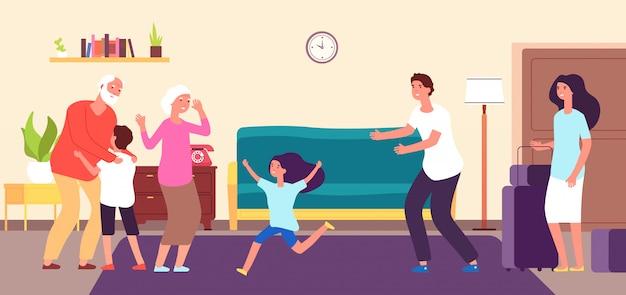 子供たちは祖父母に会います。孫の孫娘は、おばあちゃんおじいちゃんを抱擁します。孫祖父祖母幸せな家族のベクトルの概念
