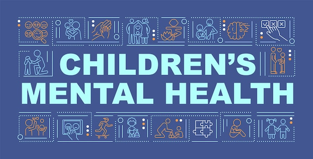 아이 정신 건강 단어 개념 배너입니다. 감정 발달. 파란색 배경에 선형 아이콘으로 인포 그래픽입니다. 고립 된 창조적 인 인쇄술. 텍스트와 벡터 개요 컬러 일러스트
