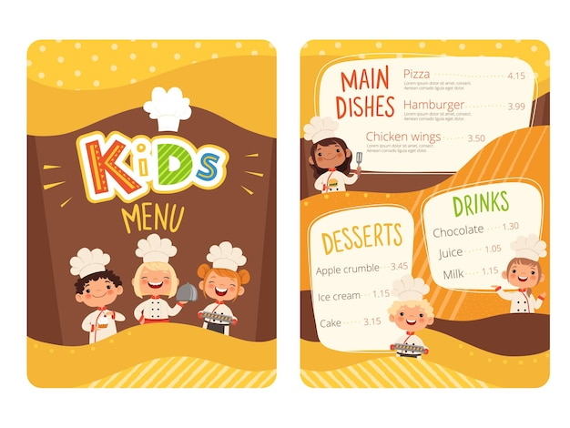 Kids menu. childrens cooking food little chef restaurant eating menu for little happy peoples  cartoon template.