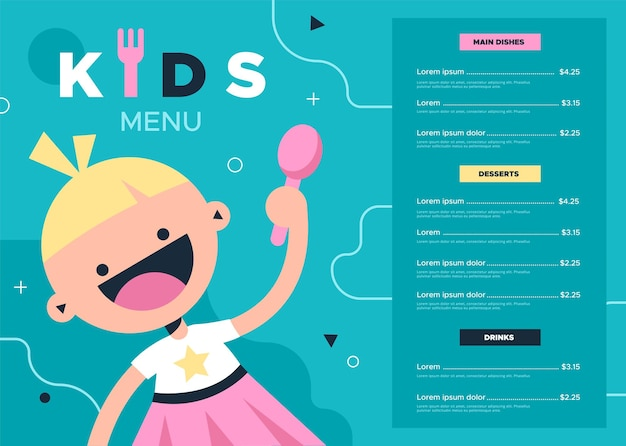 어린이 메뉴. 카페 또는 레스토랑을 위한 다채로운 어린이 음식 및 음료 메뉴, 숟가락과 맛있는 식사 저녁 식사 목록이 있는 귀여운 아기 소녀, 할인 쿠폰 전단지 벡터 밝고 단순한 만화 템플릿 디자인