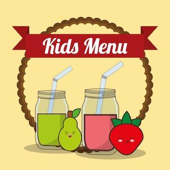 Детское меню с чашкой чая с фруктами из сока