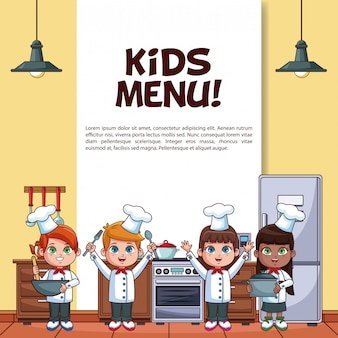 Kids menu poster with little chefs in kitchen cartoons