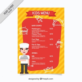 Kids menu template with a chef