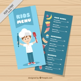 I bambini modello di menu con lo chef