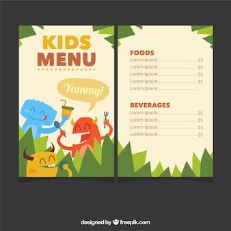 Modello di menu per bambini con simpatici mostri