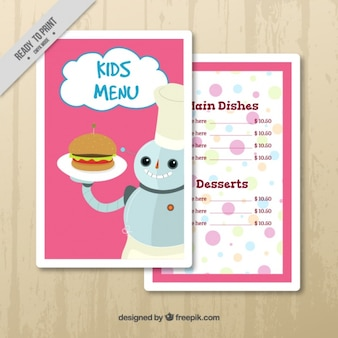 Kids menu template with snowman