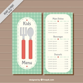 Kids' menu with checkered background