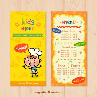Kids menu with drawings